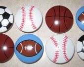 SPORTS BALLS - 2 inch knobs - Set of 8 - Football, Basketball, Baseball, Soccer Ball - Hand Painted Wooden Dresser Knobs