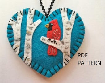 PDF Pattern - Cardinal in Birch Ornament