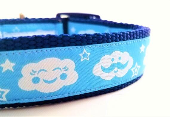 Monsieur Raincloud - Dog Collar / Adjustable / Large Dog Collar / Clouds / Raincloud / Stormy / Happy / Dog Lover
