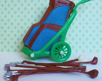 Vtg Cake Topper Golf Bag with Golf Clubs and tiny Ball