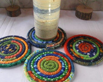 Orange Blue and Green Bohemian Coiled Fabric Coasters - Set of 4 - Kitchen, Entertaining, Hostess Gift