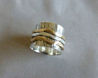 RESERVED FOR TIFFANY Sterling Spinner Ring, Wide Band Ring, Meditation Ring, Hammered Silver and 14K Gold Filled Spinner Ring,