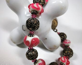 Pink lampwork bead bracelet / Silver clasp and accents / 7.5 inches long / 925 / Easter / Spring / Birthday / Flower clasp
