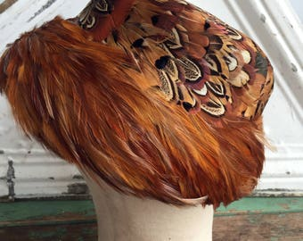 Vintage 50s 60s Bucket Hat Feathers Pheasant labeled Valerie Modes
