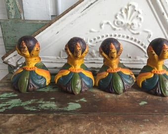 4 Antique Victorian Eagle Claw Foot Bathtub Tub Feet OLD Cast Iron painted Bright Colors