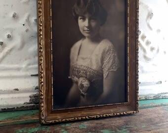 Antique Art Nouveau Sepia Woman photograph framed carved gold gilt wood