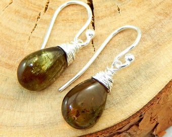 Andalucite Earrings,Wire Wrapped,Sterling Silver,Bridesmaids Gift,Gemstone Earrings,Andaclucite Jewelry