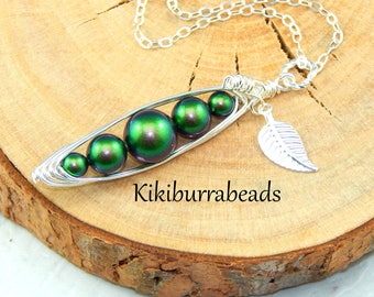 Peas In A Pod Necklace,Five Peas In A Pod Necklace,Choose Your Colors