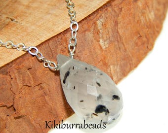 Black Rutilated Quartz Crystal Pendant Necklace, Sterling Silver Chain, Briolette Necklace, Layering Necklace, Gemstone Necklace