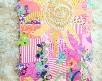 "Baby Girl Quilt ""Sun Is Shining Believe"" Wall Hanging, Accent Throw, Lap Quilt  42.5"" Wide x 54"" Long Designer Cottons betrueoriginals"