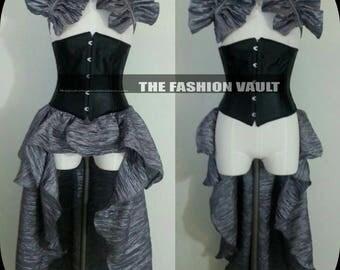 Steampunk Burlesque Bustle skirt and  collar shrug set