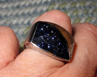 Black Sparkle Stone with Purple and Blue CZ Sterling Silver Ring Size 8