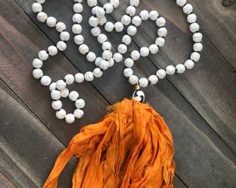 White Howlite Tassel Necklace Hand Knotted Long Bohemian Style with Upcycled Sari Silk Ribbon Tassel - Zinnia Handmade by SplendorVendor