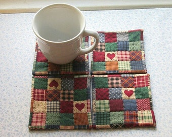 red country hearts with  blue  backs hand quilted set of mug rugs coasters