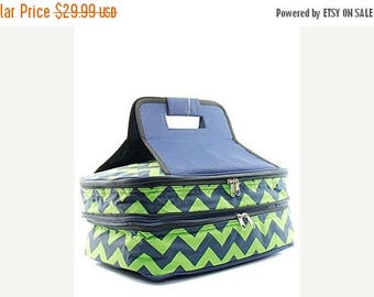 ON SALE Personalized Coral with Navy  handle Casserole Tote  Monogrammed