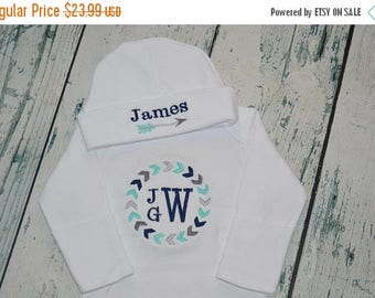 ON SALE PERSONALIZED Tribal Gown and Hat  set Monogrammed Coming Home Outfit Arrows