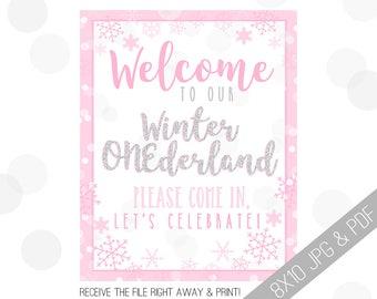 ONEderland Printable Sign   Onederland Welcome Sign   Winter Onederland   Pink and Silver   Winter Welcome Sign   Winter Onederland Party