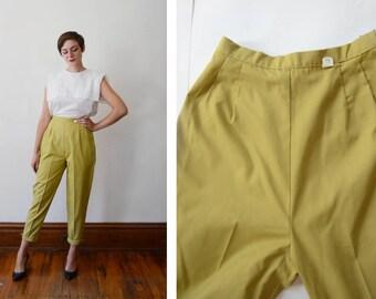 60s/70s Chartreuse Green Slacks - M
