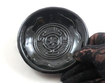 GODDESS Hekate's Wheel Raku Bowl in Black Handmade  POTTERY