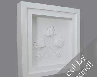 flower - PAPER CUTTING - all white, depth, texture, Paper cut art, flowers, unique wall art, framed paper cut, white paper,botanical, layer