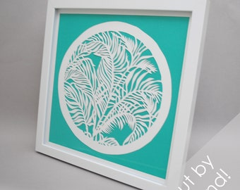 floral leaves - PAPER CUTTING - handmade art, Paper cut art, flowers, unique wall art, framed paper cut,paper,botanical, bright, colorful
