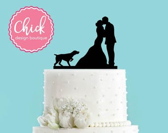 Couple Kissing with Pointer Hunting Dog Pointing Acrylic Wedding Cake Topper