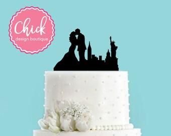 New York New York Couple Bride and Groom Wedding Acrylic Wedding Cake Topper