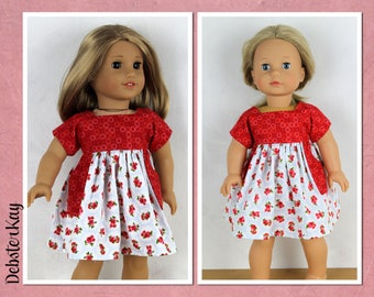 Roses are red dress - Doll clothes to fit 18 inch dolls such as American Girl, Gotz Pleasant Day Dolls and similar dolls H89