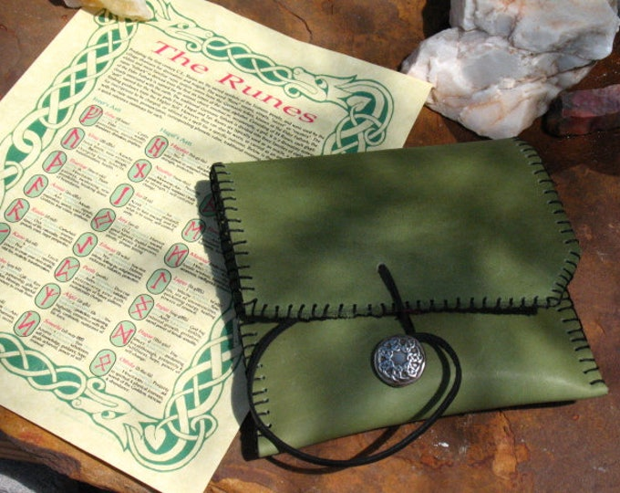 Featured listing image: Hand Made Red Oak Elder Futhark Rune Set~Leather Pouch~Divination~Advice