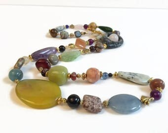 On Sale Long Mixed Gemstone Necklace, Colorful Necklace