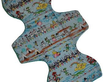 Heavy Hemp Core- Peter Pan Reusable Cloth Goddess Pad- WindPro Fleece 12.5 Inches (31.75 cm)