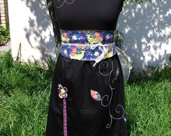 Dress Omael forest with embossed flowers and obi belt
