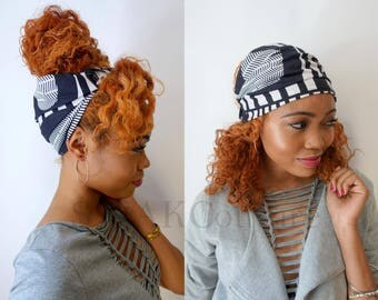 Satin Lined Headband Wide Headband Wrap Pineapple Bun Wrap Ankara African Print Wrap Turban - Mozambique or Choose Print