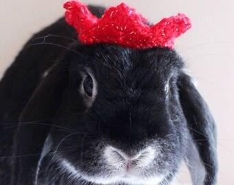 Xmas crown for pet rabbit/ Pet rabbit accessories/ Costume for rabbit/ Bunny crown/ Crown for bunny/ Guinea pig costume/ Pet rabbit costume