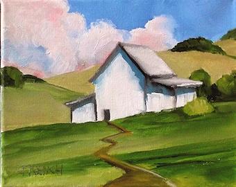 Barn Painting Impressionist Plein Air Landscape Santa Maria Hills & Farm California Art Lynne French o/c 8x10