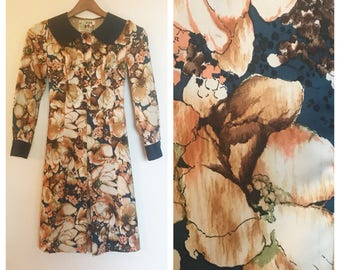 Vintage 60s 70s Peony Floral Long Sleeve Dress S/M