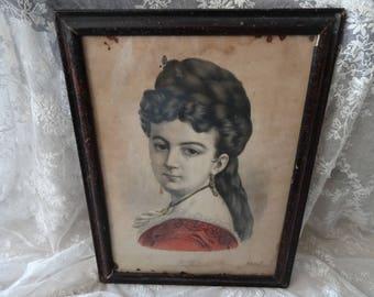 GORGEOUS Vintage Shabby Victorian Lady Portrait Framed