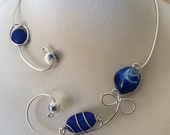 OPEN NECKLACE, Wire necklace, Royal blue necklace, Wire wrapped necklace, Metal wire necklace, Aluminium wire necklace, Design necklace