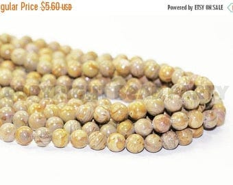 """20% OFF 7"""" Gemstone STRAND - Picture Jasper Beads - 8mm Rounds - Shades of Gray, Rust, and Caramel Brown (7"""" strand - 23 beads) - str1253"""