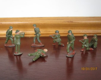 10 Toy Lead Soldiers  Marked  England Soldiers