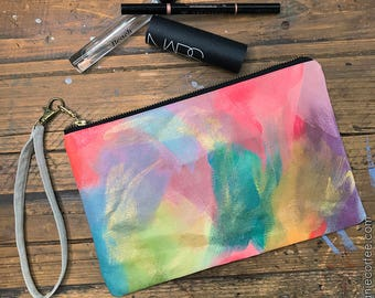Hand-Painted Canvas Zipper Pouch with Wrist Strap #3 - zip pouch, canvas pouch, pencil case, wristlet
