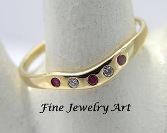 Ruby & Diamond Gold Ring - Diamond Ruby Wedding Ring Band - Solid 18k Gold Ring Inset Gemstones - Unique Cosmic Wave Ring  EVB Design