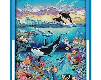 Underwater World Patterns Counted Cross Stitch 11CT 14CT Cross Stitch Sets Cross-stitch Kits Embroidery Needlework