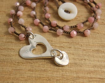Crocheted Necklace with Brown Cord, Coral Jade Beads and a Heart Pendant SN-274
