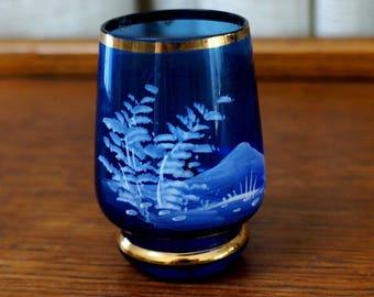 Vintage Toothpick Holder Blue Glass White Mountain Pine Tree Scene Gold Gilt