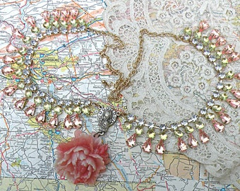 peony assemblage necklace recycled jewelry fresh feminine cottage chic mori girl