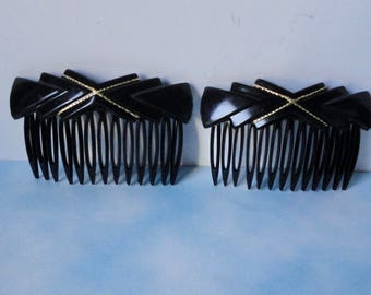 Vintage FRANCE Black Lucite with Gold  Hair Comb Set of 2.