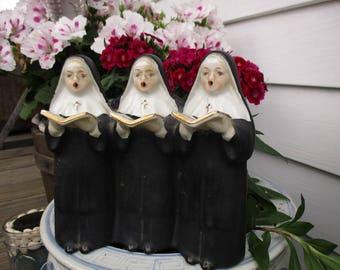 3 Nuns Music Box, Ceramic, Chadwick Japan, Singing Nun, Plays Dominique,Catholic Sisters, Religion, Works Great 1950's Vintage