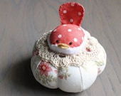 Red and White Bird Pincushion Cute Bird Pin Cushion Rustic Pin Cushion Polka Dots