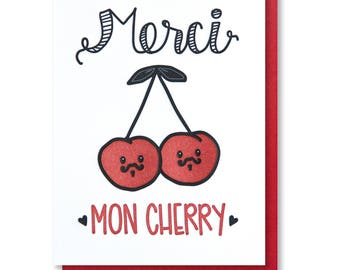 NEW! Funny Punny Thank You Letterpress Card   Merci Mon Cherry   French Pun   kiss and punch